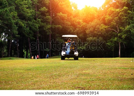 Golf carts in the golf course #698993914