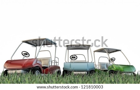 golf carts on green grass isolated on white background