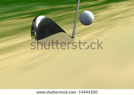 Golf club and ball concept shot