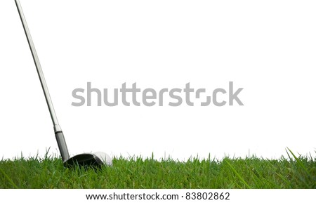 golf club and ball on grass with white background