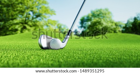 Golf Club and Golf Ball in the Green Grass - 3D illustration