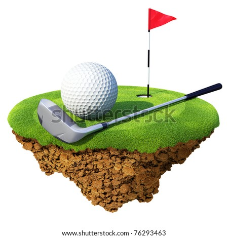 Golf club, ball, flagstick and hole based on little planet. Concept for golf club or competition design. Tiny island / planet collection. - stock photo