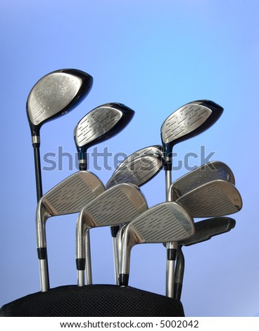 Golf club on blue background - great for background