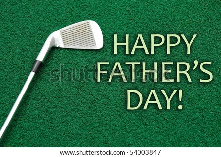 Golf club sitting on putting green 