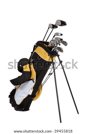 golf clubs and bag on a white background