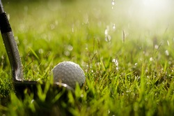 Golf clubs and golf balls are wet with warm light rain at sunset