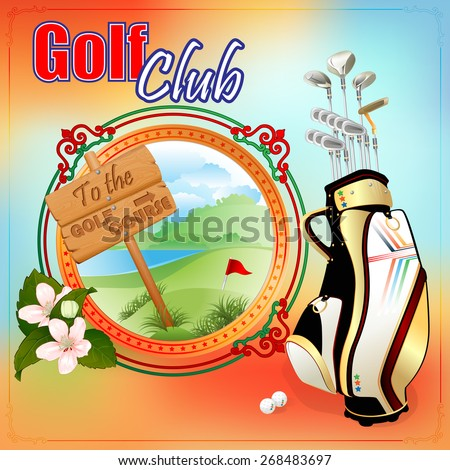 Golf Clubs design template; Golf clubs bag in front of medallion with nice golf links and To the Golf Course wood sign.