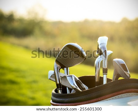 Golf clubs drivers over green field background. Summer sunset