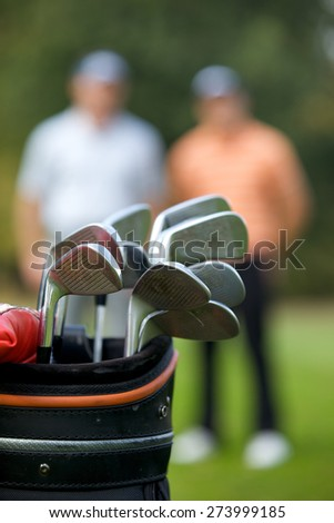Golf clubs in bag at golf course