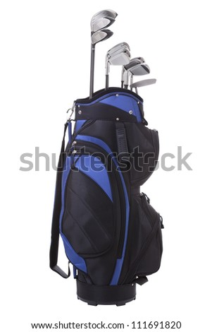 Golf clubs in blue and black bag isolated on white