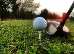Golf competition equipment for athletes Put on a green lawn