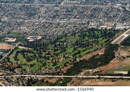 golf course aerial view, California - stock photo