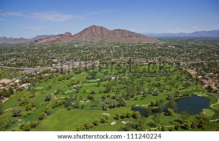 Golf Course and Camelback Mountain under sunny skies