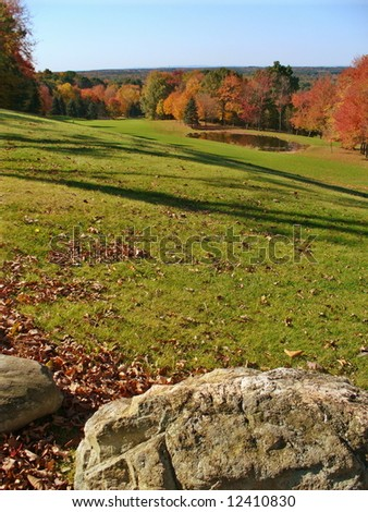 Golf Course at Sunset in Autumn