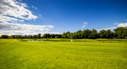 Golf Course (field) with beautiful putting green and scenery in Mezhyhirya Park Kyiv, Ukraine
