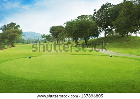 golf course from tee off green.