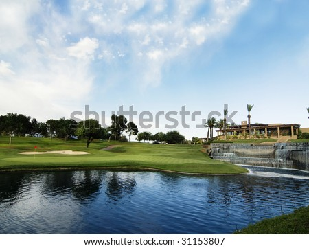 Golf course green and clubhouse in Ariona