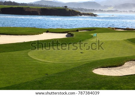 Golf course green with ocean background #787384039