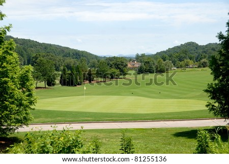 Golf Course Greens with golf cart path showing north georgia usa