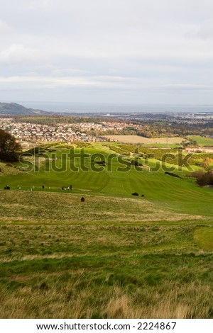 Golf course in Pentland Hills, Edinburgh (Scotland, UK)