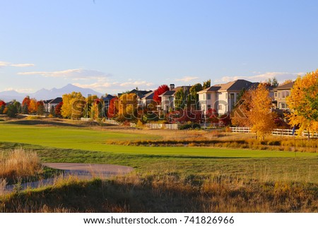 Golf course in the autumn in Broomfield, Colorado with colorful trees #741826966