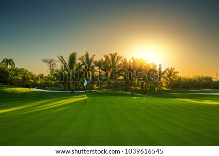 Golf course in the tropical island