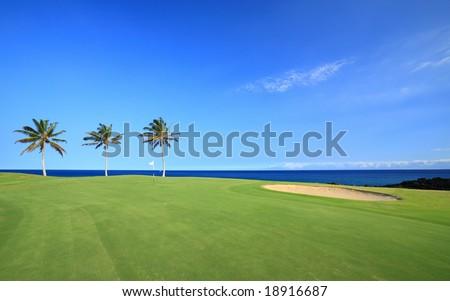 Golf Course on Green Ocean Shore of Kona Island, Hawaii