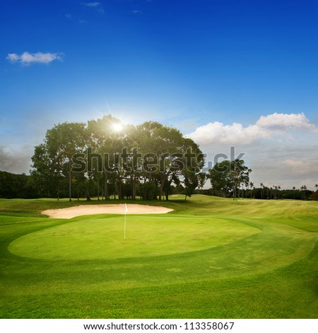 ShutterStock Golf course on island Bali 113358067