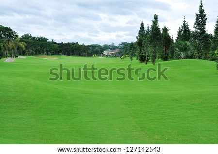 Golf course photo for with green filed. This is sport concept