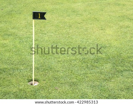Golf course, symbolic photograph, hole number 1 #422985313