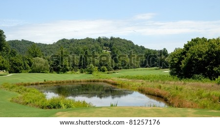 Golf course water hazard north georgia usa