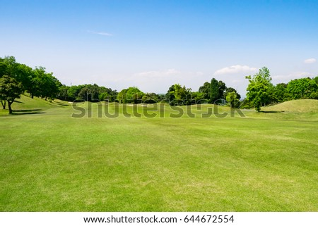 Golf Course where the turf is beautiful and green in Kurashiki City, Okayama Prefecture, Japan. Golf is a sport to play on the turf - Shutterstock ID 644672554