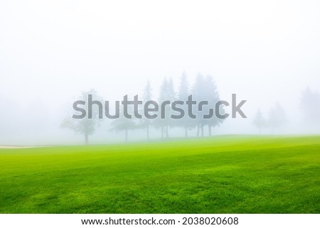 Golf Course with Fog and Trees in Crans Montana in Valais, Switzerland  Photo stock ©