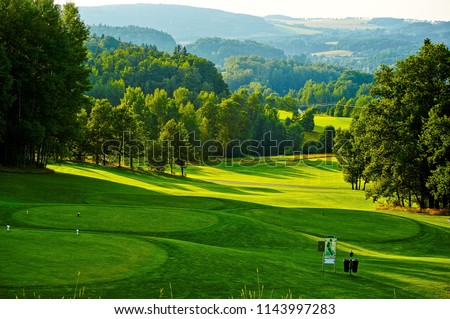 Golf course with sunny day. Europe, Czech Republic.