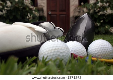 Golf equipment and accessories on the fairway
