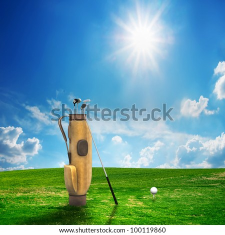 Golf equipment and ball on golf course. Sunny landscape. 3d model - stock photo