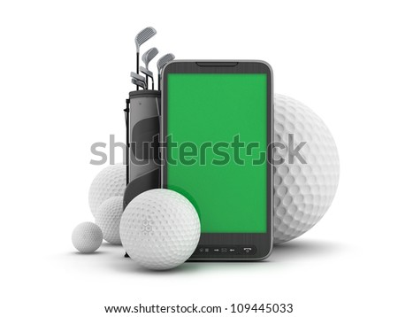 Golf equipment and cell phone on white background