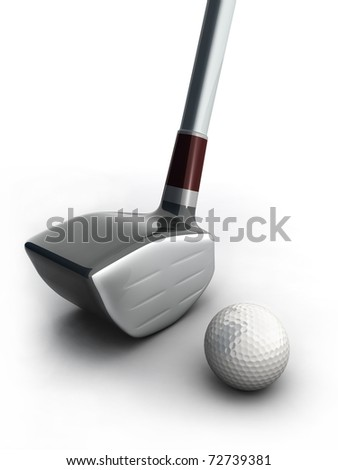 Golf equipment and golf ball on white background 3d illustration