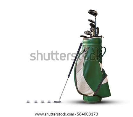 Golf equipment golf ball and golf bag isolated on white background.
