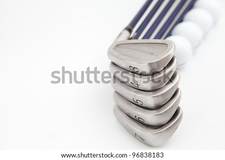 Golf equipment on white isolated