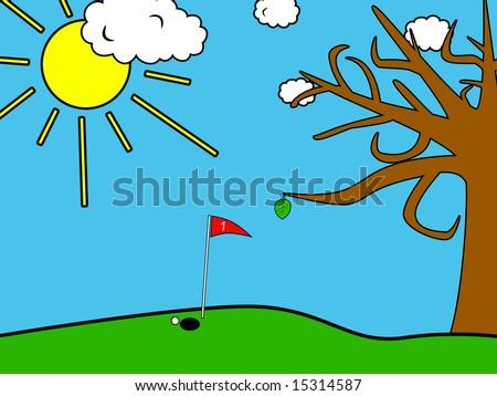Golf field background - stock photo