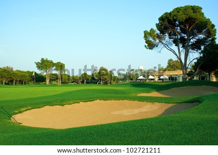 Golf field in the evening
