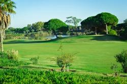Golf field on sunny outdoors beautiful luxury lifestyle background. Algarve Portugal, San Lorenzo - Sao Lorenzo Quinta do Lago
