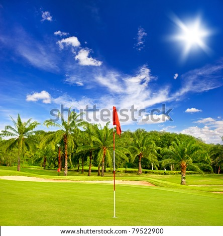 golf field with palm trees over blue cloudy sky