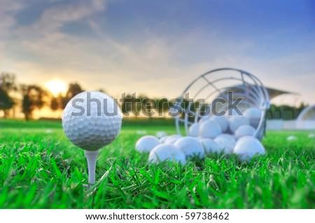 Golf game. Golf balls in grass.