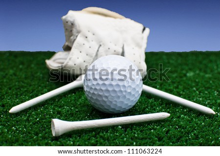 golf glove and tees