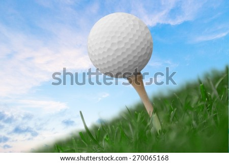 Golf. Golf Ball Blue Sky