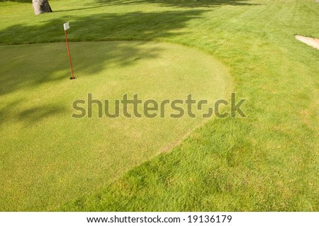 Golf green with the flag in the hole