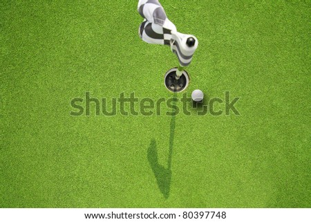 golf hole flag on a field - stock photo