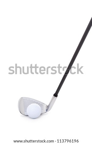 Golf iron with ball isolated on white background